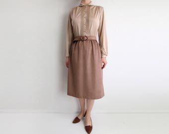 VINTAGE 1970s Dress Shirtdress Sand Ultrasuede Two Tone Small