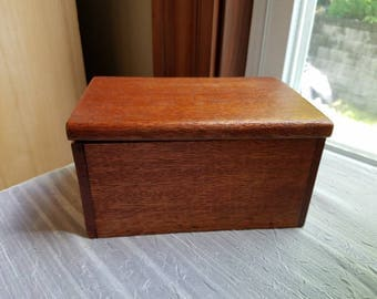 Vintage Wooden Trinket Box Recipe Box