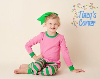 FREE PERSONALIZATION - Pre-Order - Pink/Green Striped Christmas Pajamas - Monogrammed and/or Appliqued