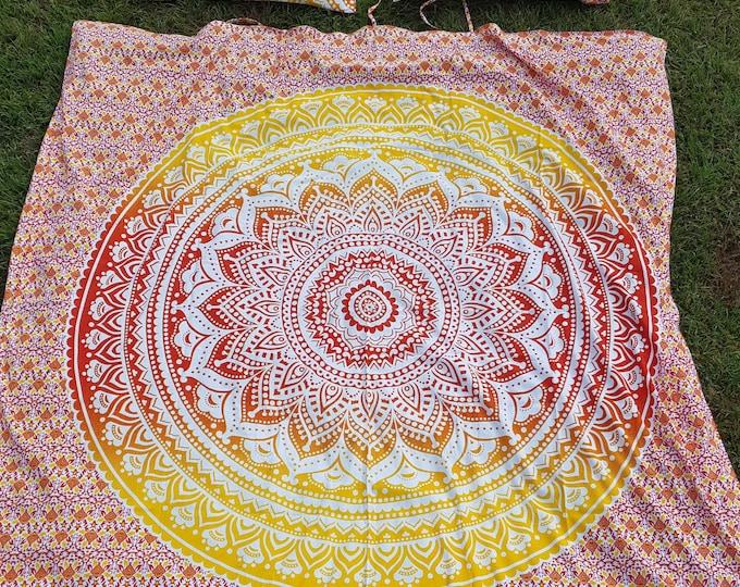 Sunshine Daydream Duvet Cover Or Flat Sheet Set with Matching Pillow Case Set Yellow and Orange Ombre Mandala Hippie Bedding Boho Bedding