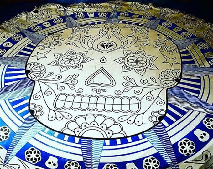 Blue and Black Sugar Skull Mandala Roundie with White Fringe Tapestry Beach Blanket Yoga Mat Meditation Mat Dorm Decor Hippie Tapestry