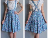 1940s Pinafore Dress // Flower Fields Pinafore // vintage 40s dress