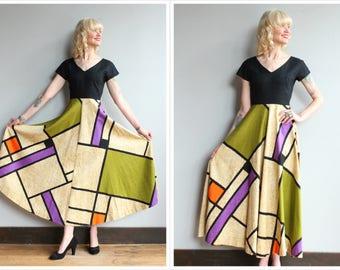 1960s Maxi Dress // Piet Mondriann Inspired Tori Richards for Holiday Shops Maxi Dress // vintage 60s dress