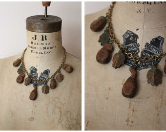 1940s Necklace // Wood Leaf & Brass Necklace // vintage 40s necklace