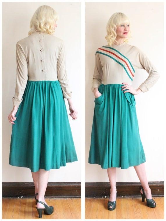 1940s Dress // Daryl Fall Jersey Dress // vintage 40s dress