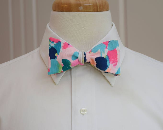 Men's Bow Tie, Pina Colada Club multi color 2017 Lilly print, groomsmen gift, wedding bow tie, groom bow tie, prom bow tie, Carolina Cup tie