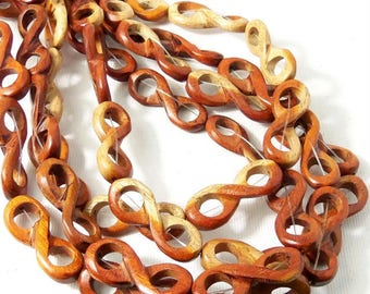 Sibucao Wood Link Bead, Infinity Symbol, Natural Redwood Bead, 10mm x 28mm, Large, 16 Inch Strand - ID 2349