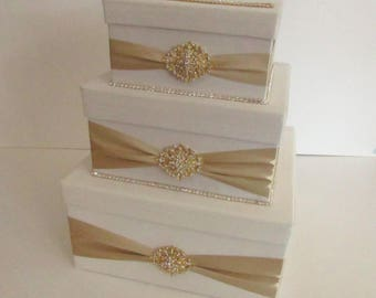Wedding Card Box, Bling Card Box, Rhinestone Money Holder, Ivory and Gold Handmade Box  - Custom Made