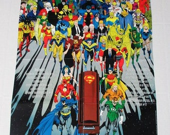 1992 Death of Superman promo poster:Justice League of America,Batman,Wonder Woman,Shazam Captain Marvel,Green Lantern,Arrow,Legion,Supergirl