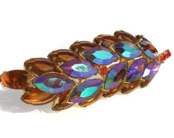 Vintage Rhinestone Leaf Brooch Jewelry Large Aurora Borealis with Purple and Amber Brown Marquise Stones on Gold Tone