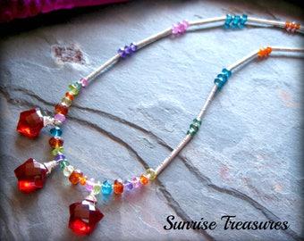 Colorful Mixed Gemstone Necklace, Red Quartz Star Necklace, Karen Hill Tribe Silver, Multi Colored Semi Precious Stone Necklace