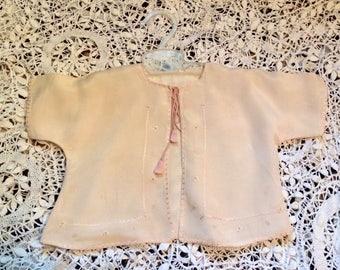 Pink baby jacket, antique baby kimono, baby girl  gift, vintage, doll jacket, pink silk