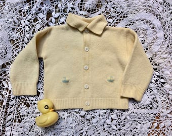 Vintage baby boy's wool cardigan sweater jacket, embroidered sailboats,