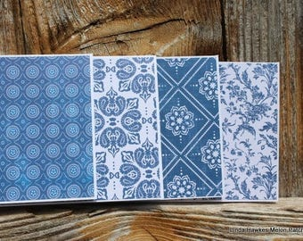 Blue and White (#2) Toile Handmade Note Card Set