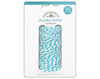 AQUA Chunky Baker's Twine - Cotton Twine - 20 yards - Favor Packaging - Doodlebug - Invitation supply