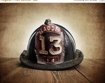 FLASH SALE til MIDNIGHT Vintage Fireman helmet Photo Art Print,Vintage Ladder 13, 12 Sizes Available from Print to Mounted Canvas