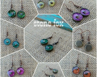 Cannabis Seed & Sparkle Earrings in Antiqued Bronze Bezels