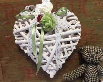 Wicker heart - hanging wicker heart - heart and flowers