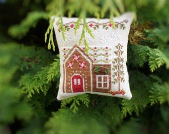 Gingerbread Holly Sprig House - Completed Cross Stitch Christmas Ornament