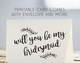 50% OFF bridesmaid card, printable bridesmaid card, will you be my bridesmaid card, card for bridesmaid