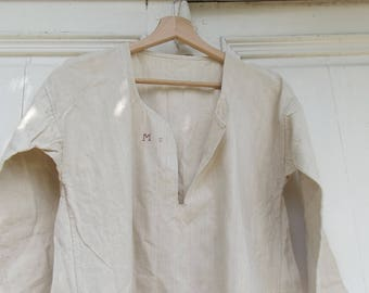 Antique French Nun's Tunic Rough Linen Smock Covent Chemise Pure Untreated linen  c1870