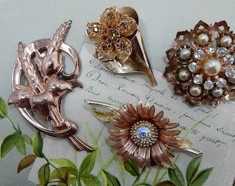 4 Vintage Gold Tone & Rhinestone Floral Brooch Lot