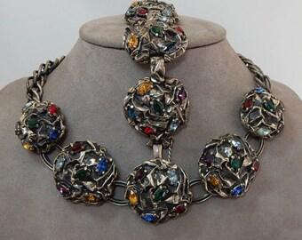SCHIAPARELLI Signed Cjimlu Silver Monernist Choker Necklace and Bracelet Set    OEI3
