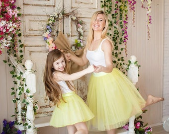 Mother and Daughter Tutu Skirts Set, Yellow Mommy and Me Skirts