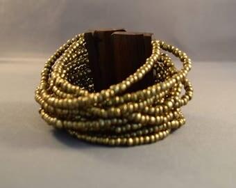 Women Bracelet-Women Wrist Bracelet-Seed Beads Bracelet-Wood Bracelet-Women Cuff-Multistrand Layered Bracelet-Boho Bracelet-Friendship Gifts