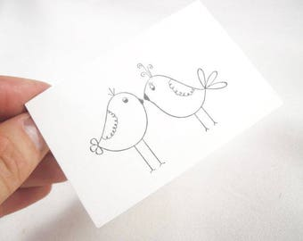 3 inch card hand stamped custom gift card in white or brown kraft - love birds stamp - wedding, anniversary, engagement, valentines day card