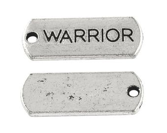 "10 pcs. Antique Silver ""Warrior"" Rectangle Charms Pendants - 21mm X 8mm"