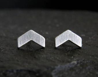 Chevron stud earrings / arrow earrings / chevron earrings / hypoallergenic earrings / small studs / stainless steel studs
