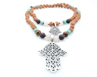 Yoga Meditation Mala Necklace Hamsa, Rudraksha, Turquoise and Lava Individually Knotted Mala