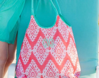 Coral Beach Bag - Monogrammed Swim Cover Up - Monogrammed Tote - Round Towel- Personalized Towel - Coral Beach Set - Round Beach Blanket