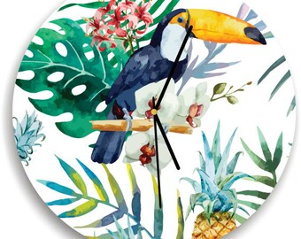Watercolor tropical birds and plants wall clock, Tropical Leaves Print clock, Wall clock for Office, Tropical Palm