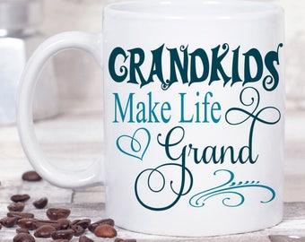 Grandkids Make Life Grand Mug - Grandparent Christmas Gift - Grandparent Coffee Mug - Coffee Lover Gift - Grandparent Gift - Ceramic Mug