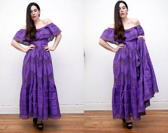 Vintage 70's Cotton Mexican Off The Shoulder Bardot Frill Dress Embroidered Oaxaca Maxi Dress Sz S M