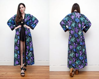 Vintage Floral Kimono  Sheer Drape Boho Duster Cape Jacket and Dress