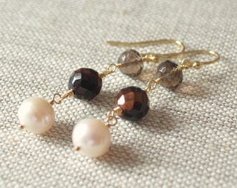 Smoky Quartz Earrings, Gold Dangle Earrings, Tiger Eye Beads, White Freshwater Pearl, Real Gemstone, Chocolate Brown, Free Shipping