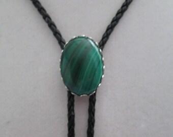 Malachite bolo tie- black leather cord