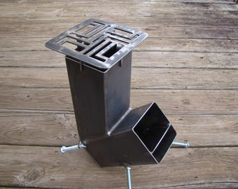 Rocket Stove Self Feeding Gravity Feed Design NEW IMPROVED Cooking Grate all welded steel construction ironoflife
