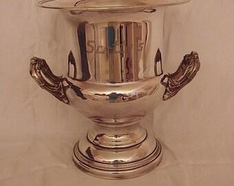 Vintage Silver Plate Champagne Bucket.  Silverplate Handled Wine Cooler Ice Bucket. Vintage Silver Trophy Cup Urn Vase. Wedding Centerpiece