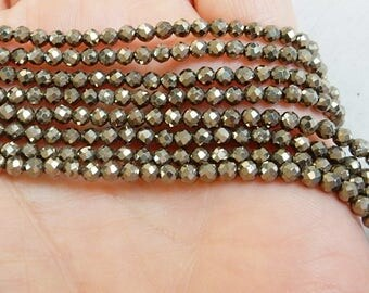 3mm Sparkly  Pyrite faceted round beads FULL STRAND