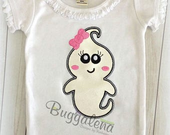 Girly Ghost Applique Embroidery Design