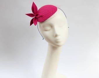 Amaranth Wool Felt  Fascinator, Mini Hat with the Veil