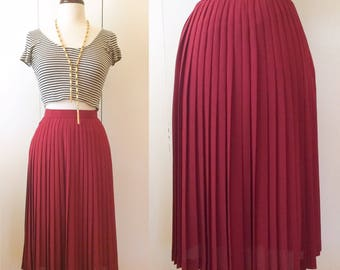 Pleated midi skirt, Crimson XS Japanese vintage