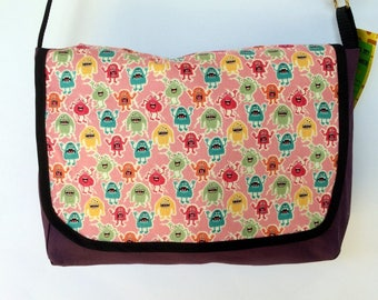 Purple & Pink Monster Satchel / Laptop Bag - handbag, messenger, cotton handmade
