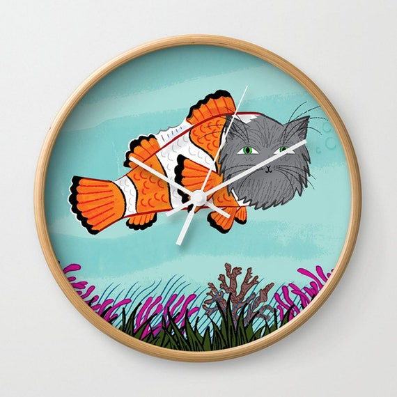 Catfish - wall clock - Nursery Decor- children's illustrated wall clocks - by Oliver Lake - iOTA iLLUSTRATiON