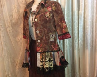 Brown Bohemian Jacket, bohemian chic, earth tones, refashioned ooak, womens upcycled clothing, SMALL
