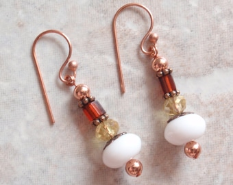 Copper Beaded Earrings Brown Yellow White French Hooks Hand Made